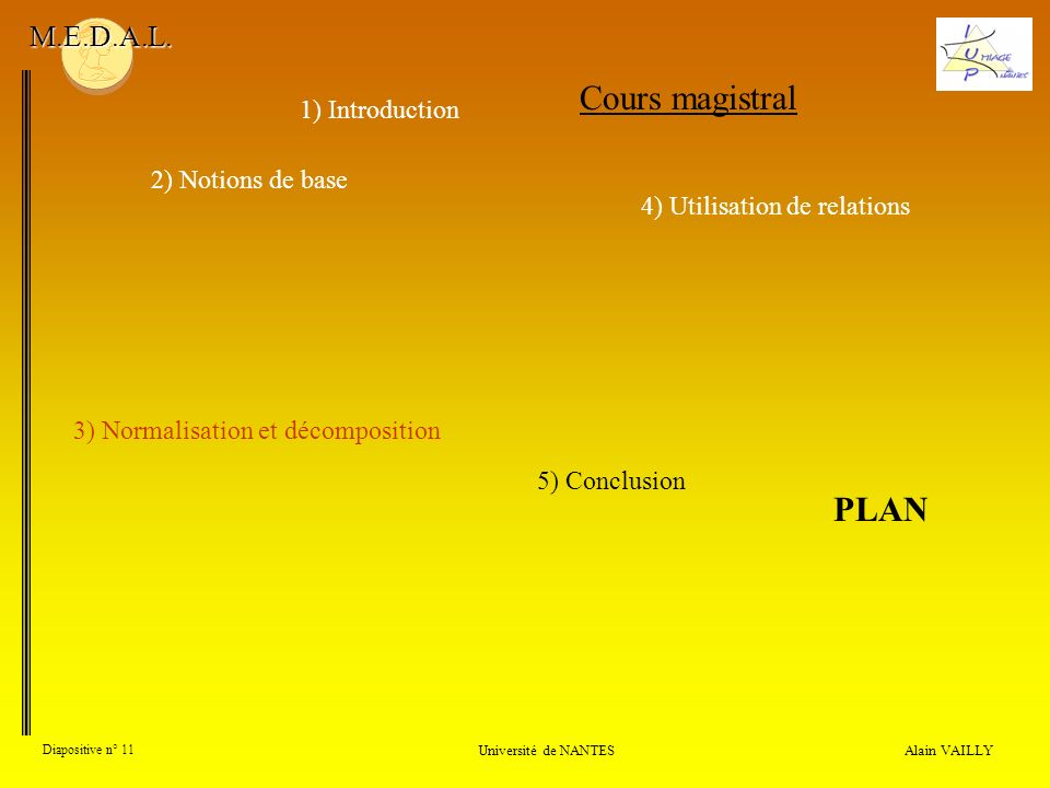 Cours magistral PLAN M.E.D.A.L. 1) Introduction 2) Notions de base