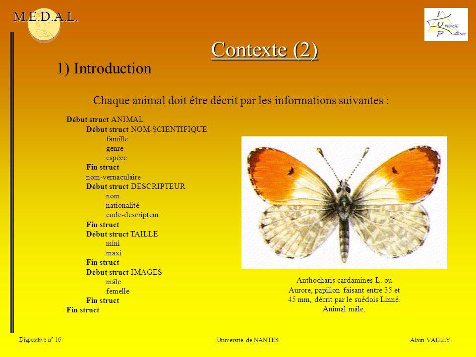 Chaque animal doit être décrit par les informations suivantes :