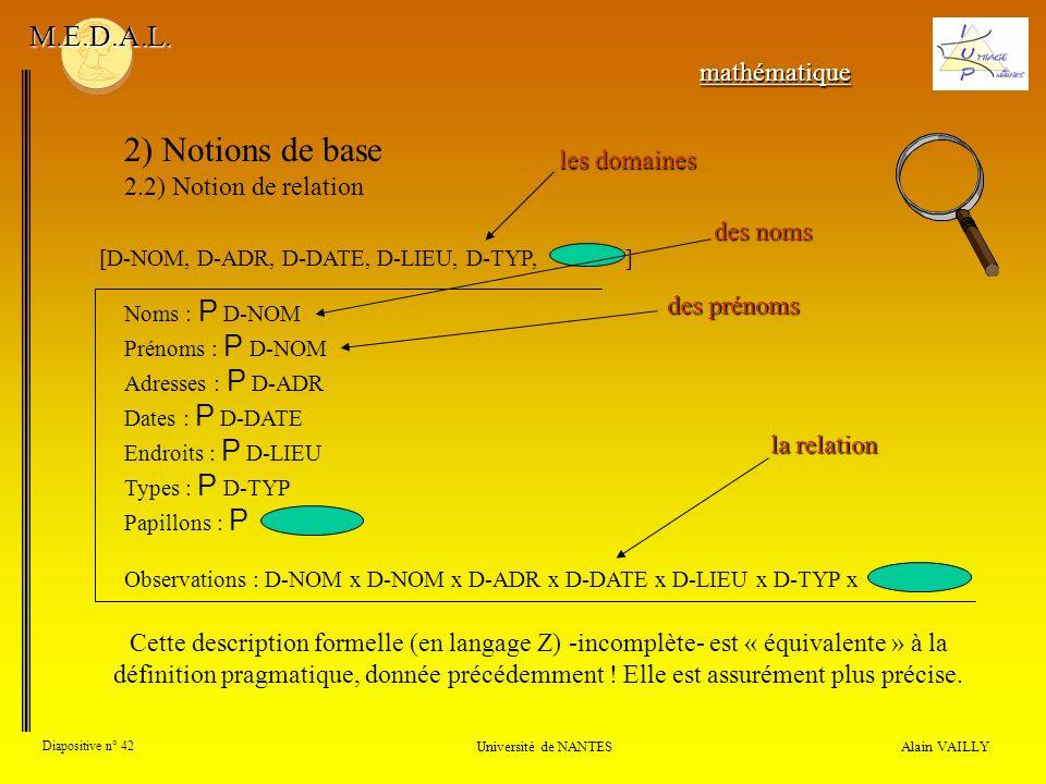 2) Notions de base M.E.D.A.L. mathématique les domaines