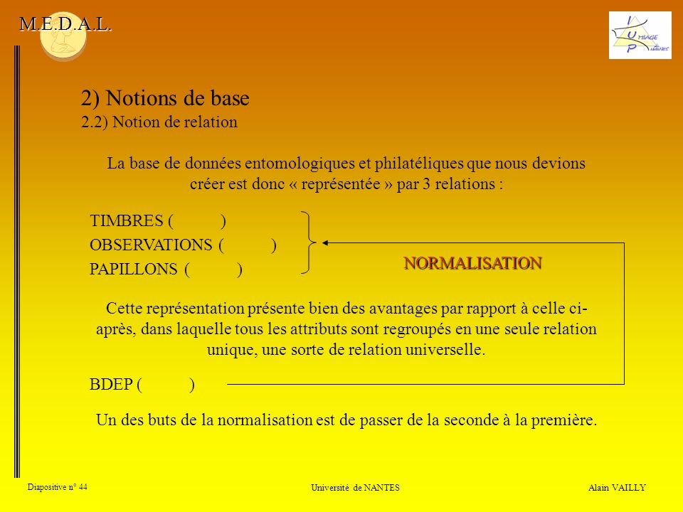 2) Notions de base M.E.D.A.L. 2.2) Notion de relation