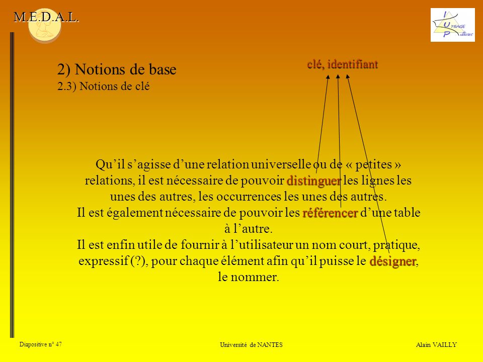 M.E.D.A.L. 2) Notions de base. 2.3) Notions de clé. clé, identifiant.