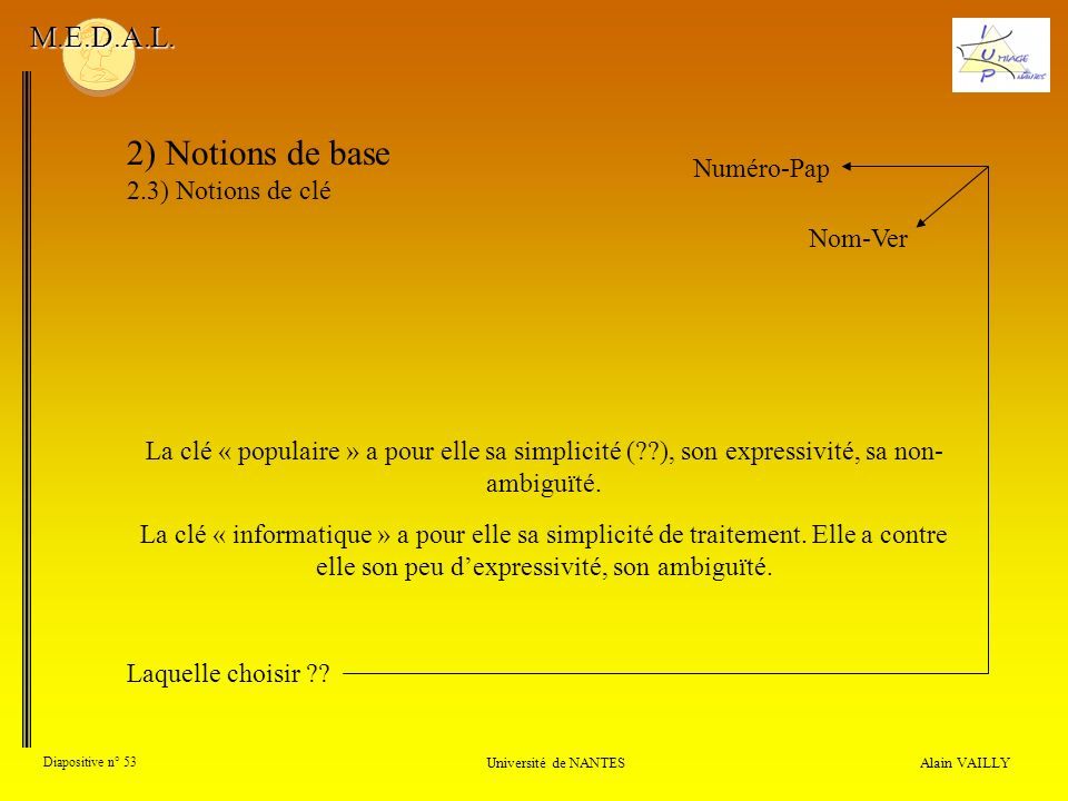 2) Notions de base M.E.D.A.L. 2.3) Notions de clé Numéro-Pap Nom-Ver