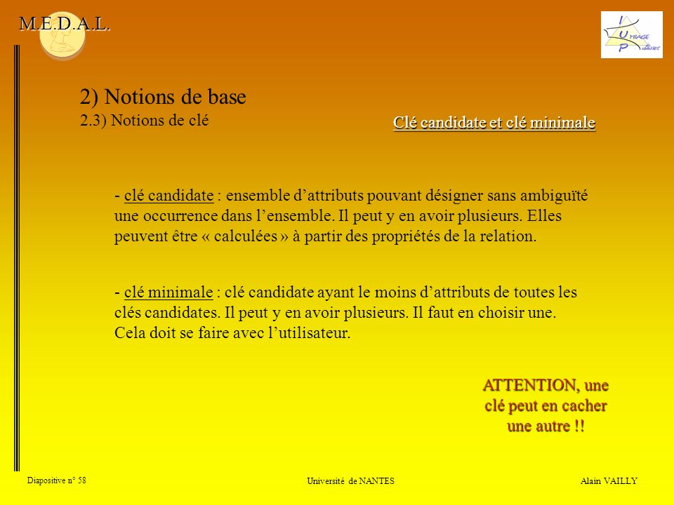 2) Notions de base M.E.D.A.L. 2.3) Notions de clé