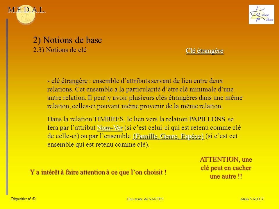 2) Notions de base M.E.D.A.L. 2.3) Notions de clé Clé étrangère