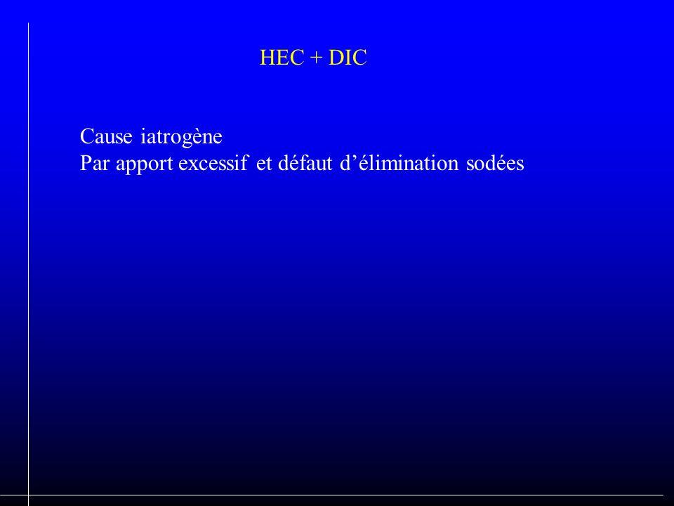 HEC + DIC Cause iatrogène Par apport excessif et défaut d'élimination sodées