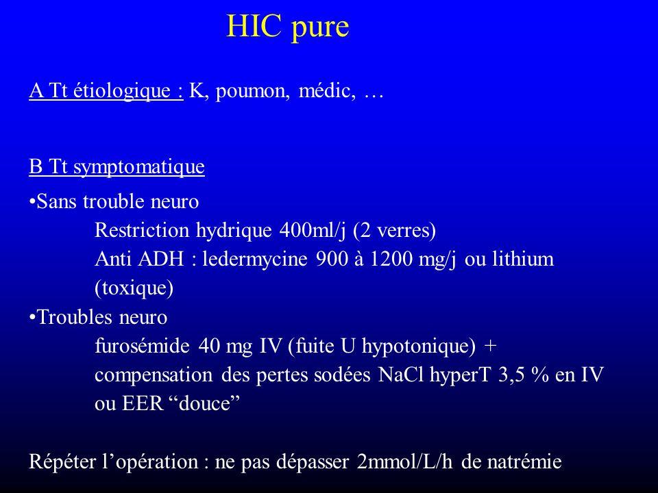 HIC pure A Tt étiologique : K, poumon, médic, … B Tt symptomatique