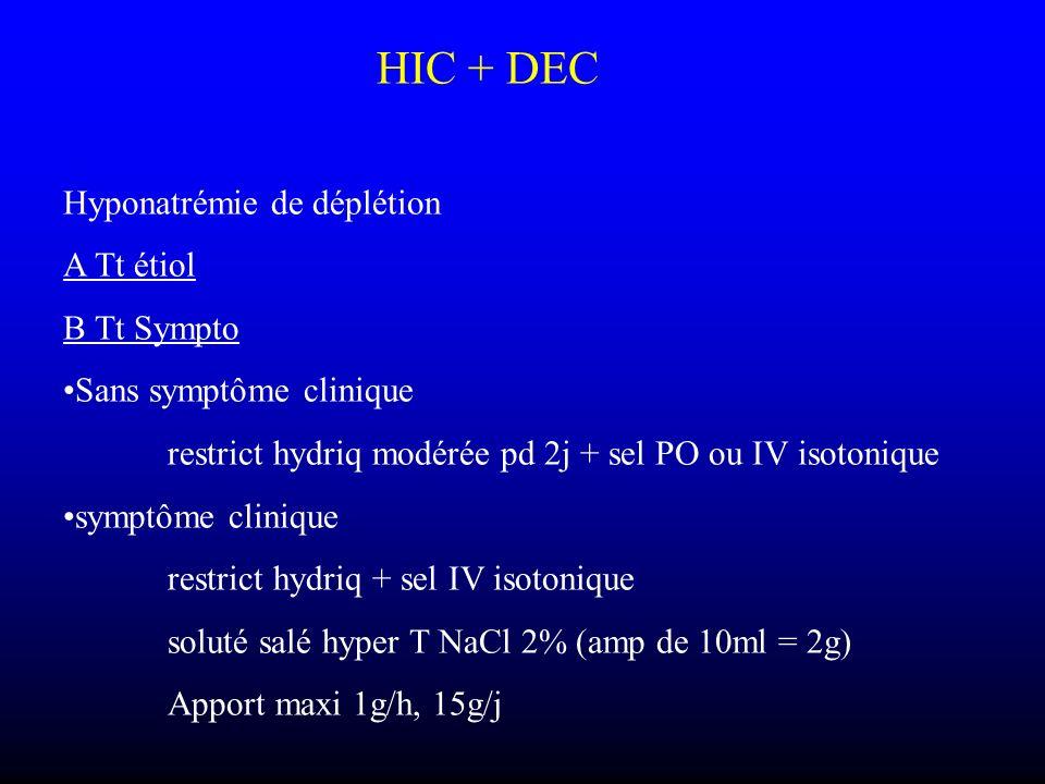 HIC + DEC Hyponatrémie de déplétion A Tt étiol B Tt Sympto