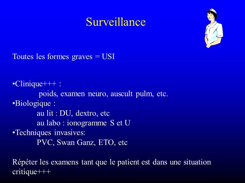 Surveillance Toutes les formes graves = USI. Clinique+++ : poids, examen neuro, auscult pulm, etc.