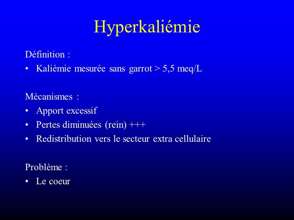 Hyperkaliémie Définition : Kaliémie mesurée sans garrot > 5,5 meq/L