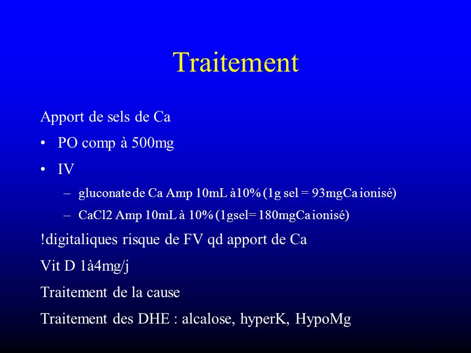 Traitement Apport de sels de Ca PO comp à 500mg IV