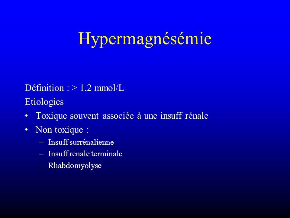 Hypermagnésémie Définition : > 1,2 mmol/L Etiologies