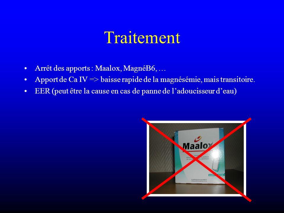 Traitement Arrêt des apports : Maalox, MagnéB6, …