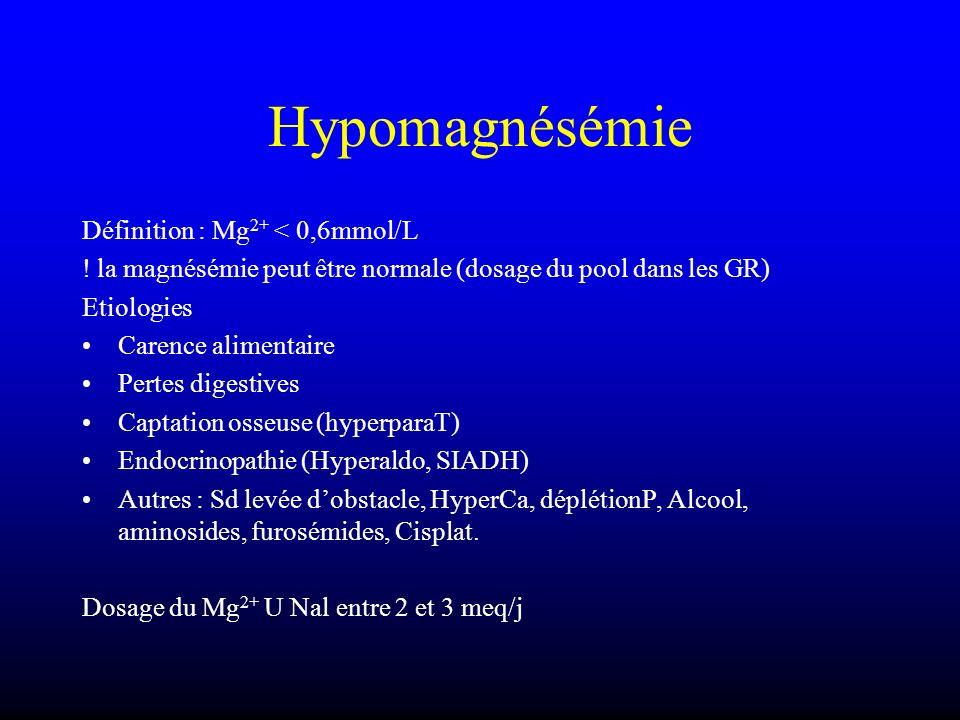 Hypomagnésémie Définition : Mg2+ < 0,6mmol/L