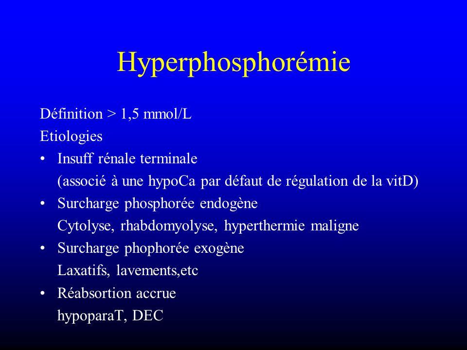Hyperphosphorémie Définition > 1,5 mmol/L Etiologies
