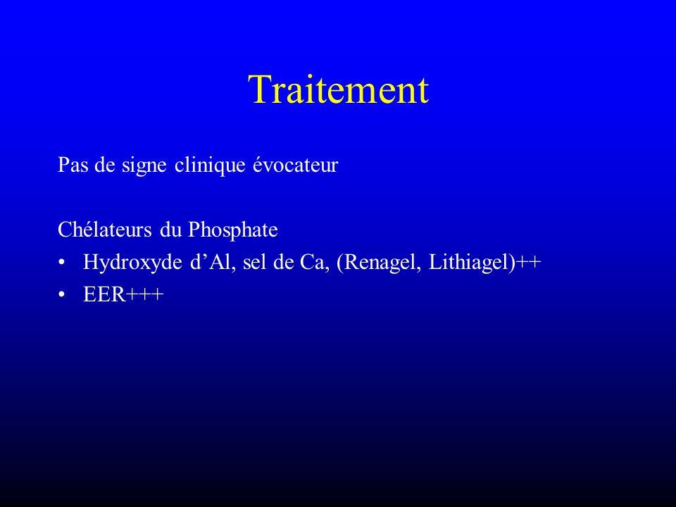 Traitement Pas de signe clinique évocateur Chélateurs du Phosphate