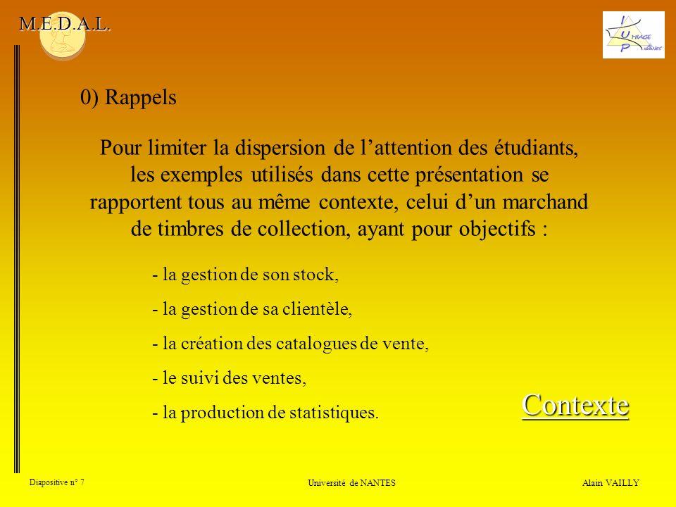M.E.D.A.L. 0) Rappels.