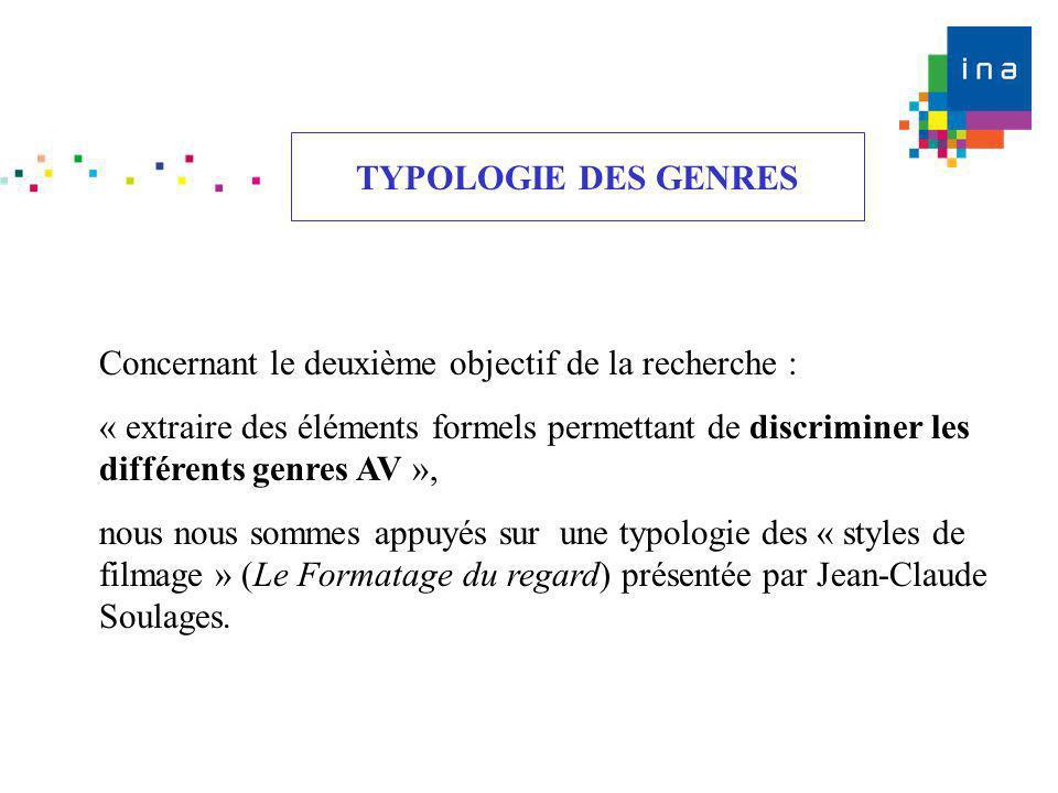 TYPOLOGIE DES GENRES Concernant le deuxième objectif de la recherche :