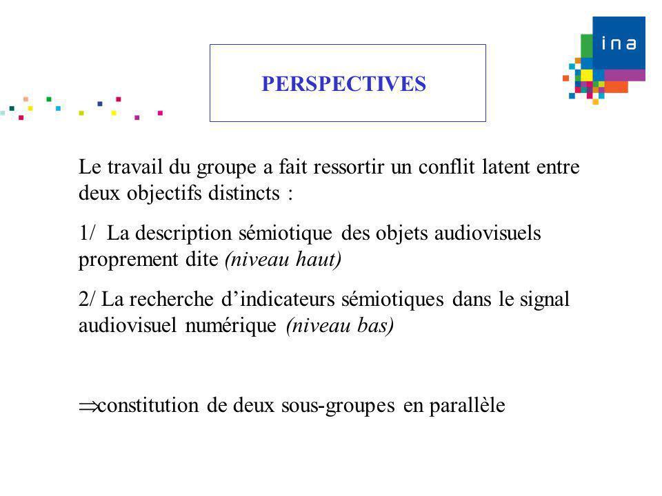 PERSPECTIVES Le travail du groupe a fait ressortir un conflit latent entre deux objectifs distincts :