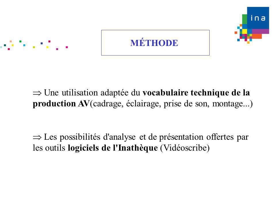 MÉTHODE  Une utilisation adaptée du vocabulaire technique de la production AV(cadrage, éclairage, prise de son, montage...)