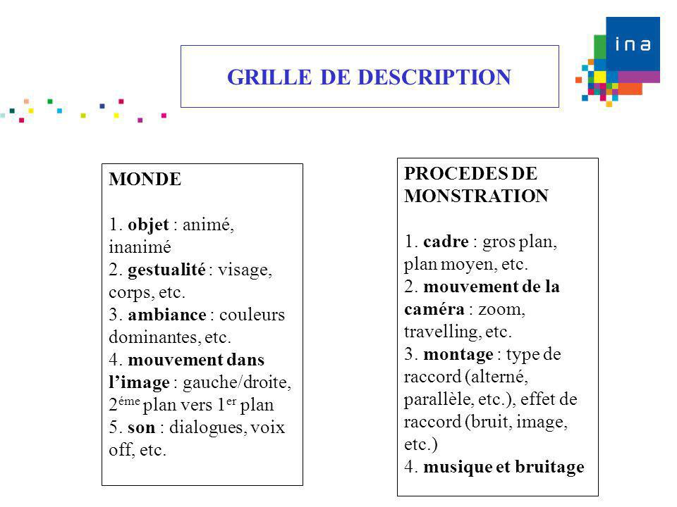 GRILLE DE DESCRIPTION PROCEDES DE MONSTRATION MONDE