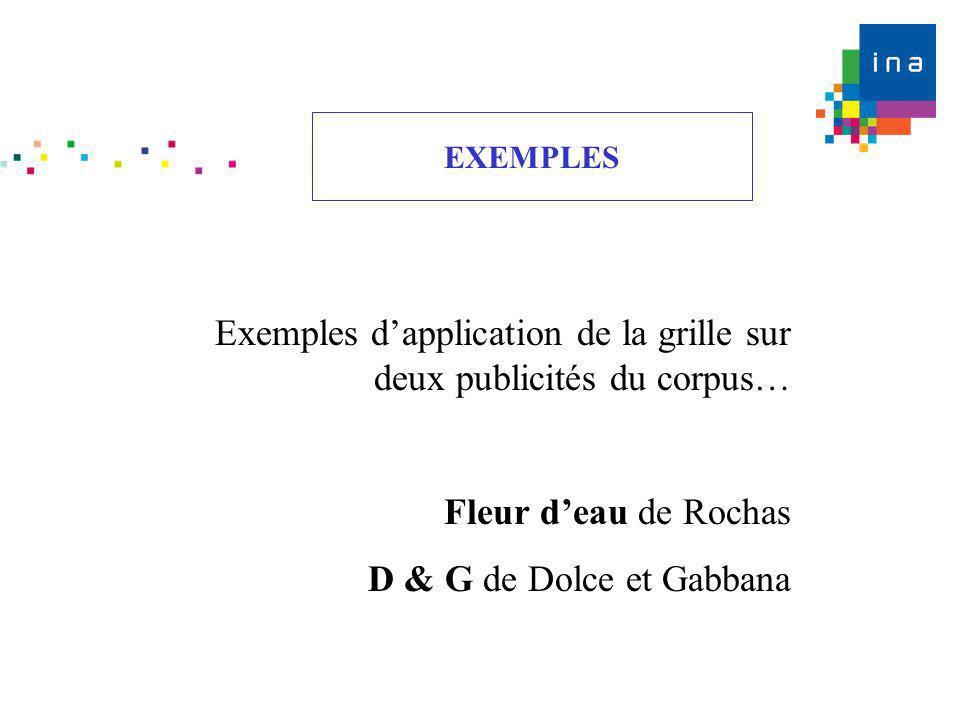 Exemples d'application de la grille sur deux publicités du corpus…