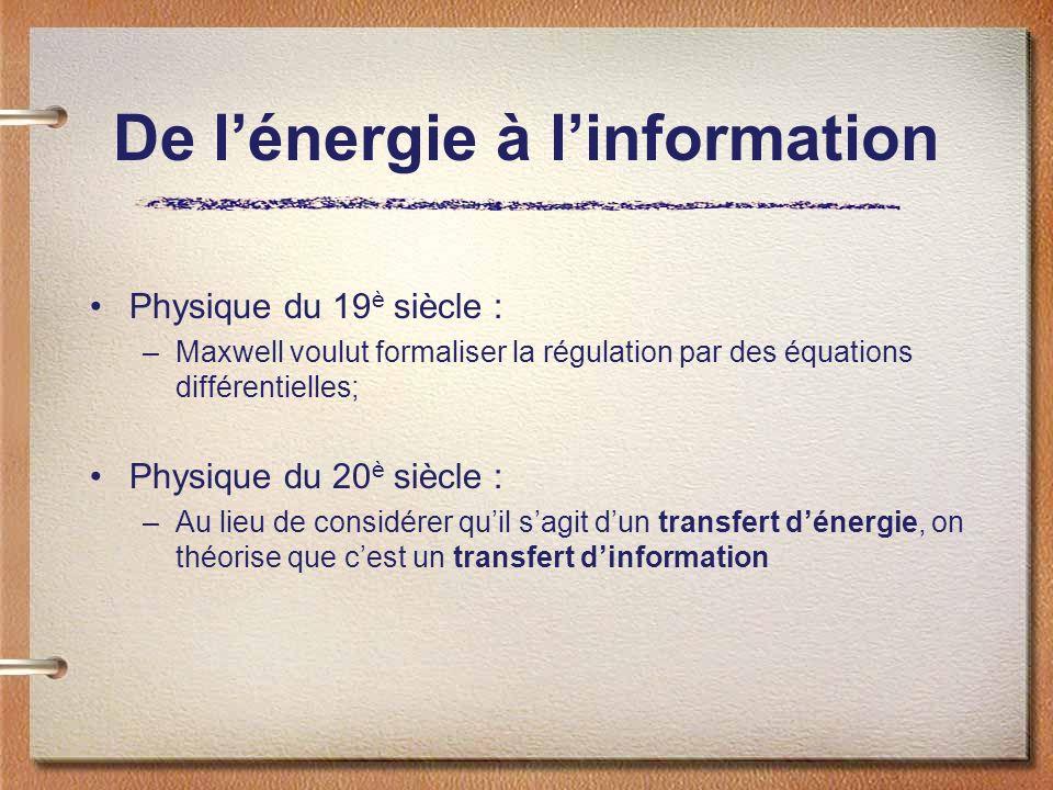 De l'énergie à l'information