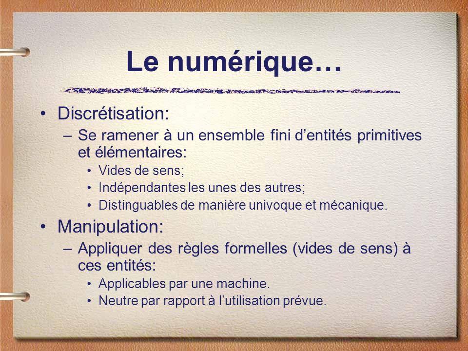 Le numérique… Discrétisation: Manipulation: