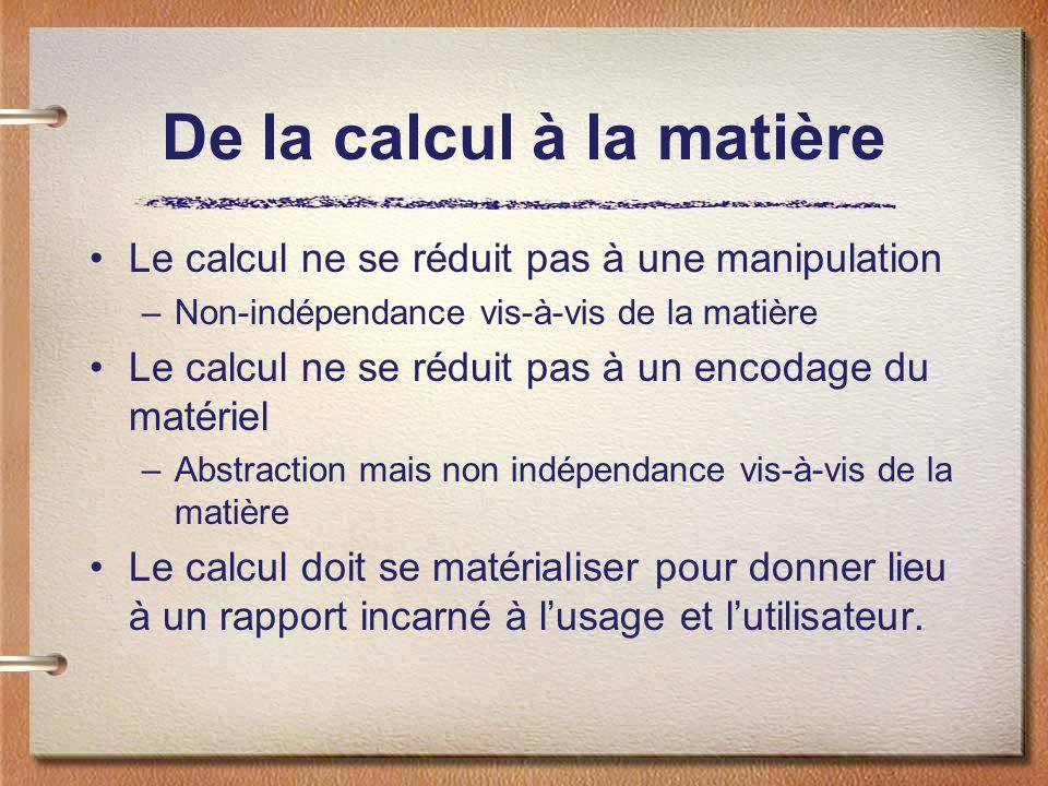 De la calcul à la matière
