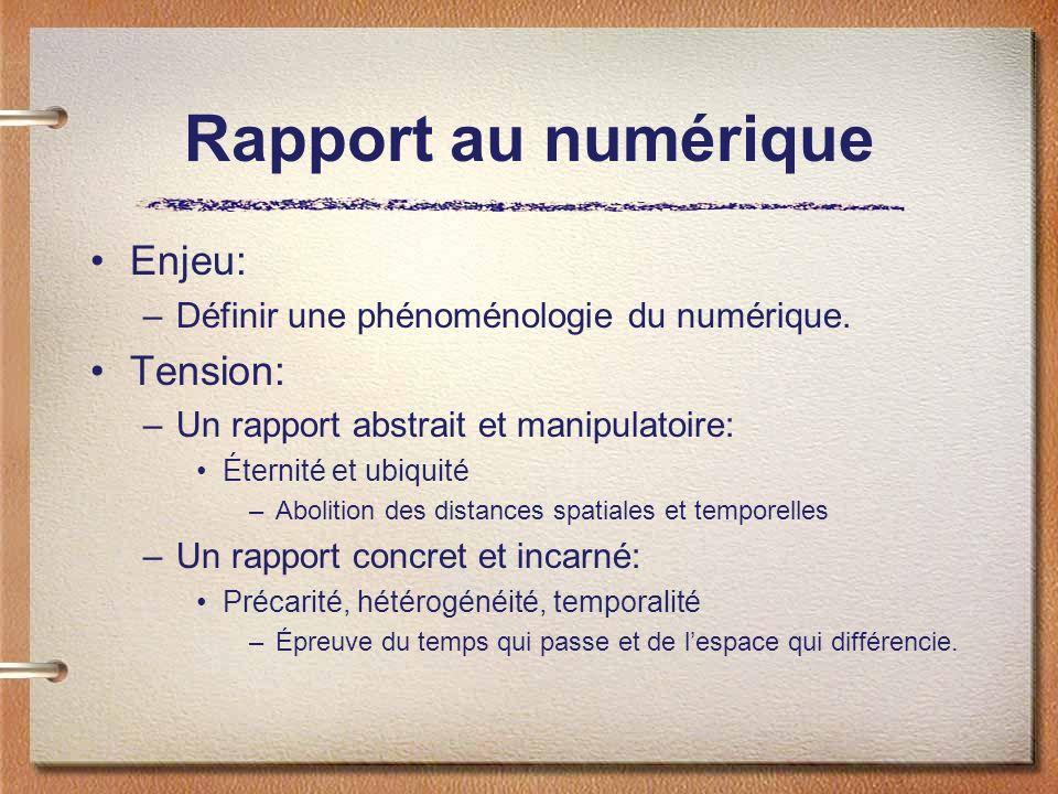 Rapport au numérique Enjeu: Tension: