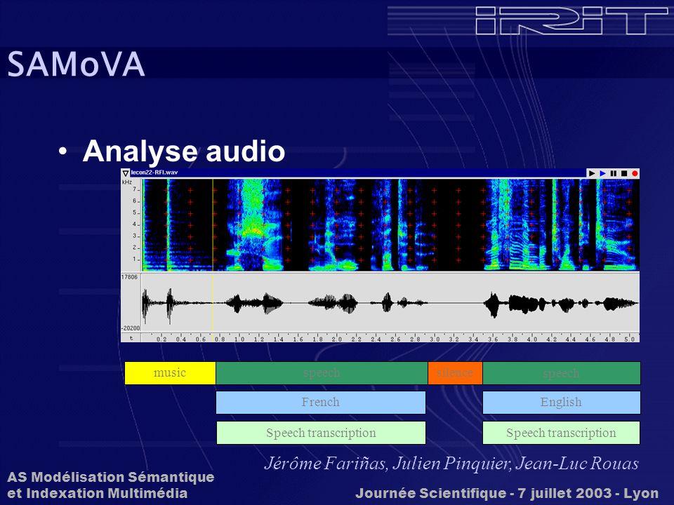 SAMoVA Analyse audio Jérôme Fariñas, Julien Pinquier, Jean-Luc Rouas