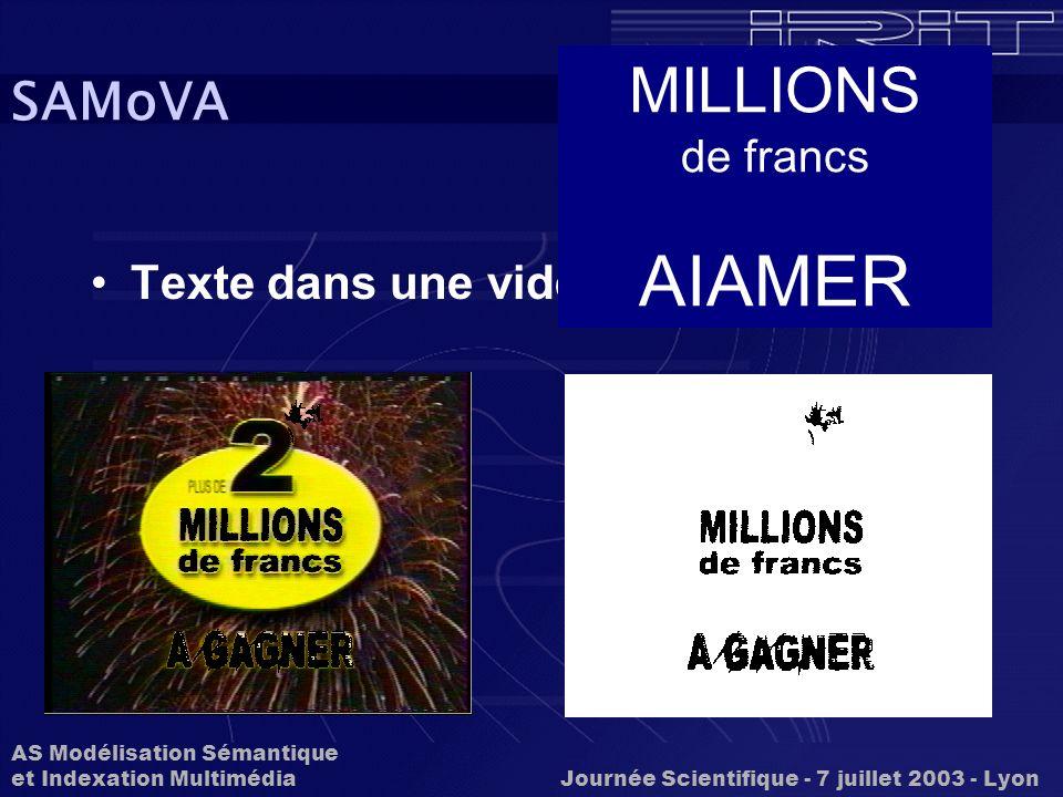 AIAMER MILLIONS SAMoVA Texte dans une vidéo de francs