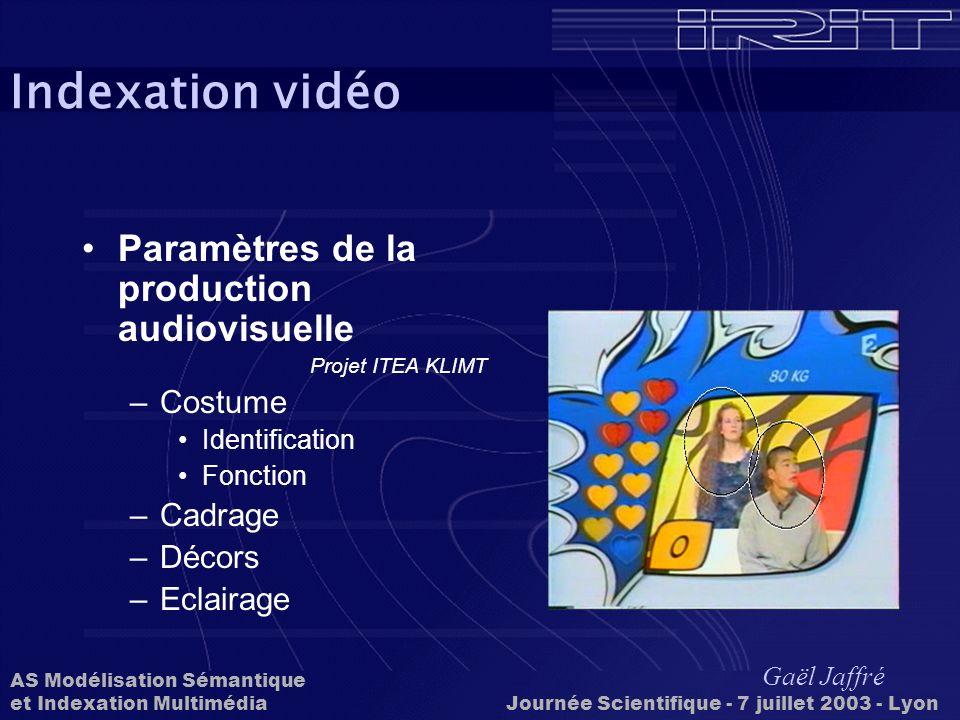 Indexation vidéo Paramètres de la production audiovisuelle Costume