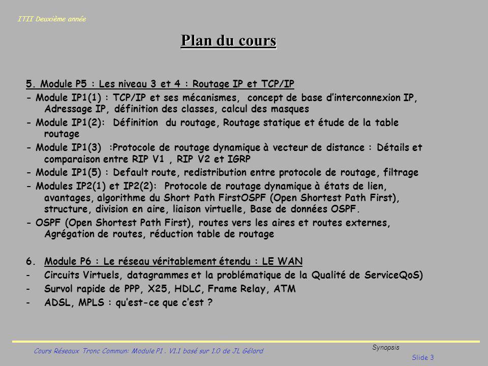 Plan du cours 5. Module P5 : Les niveau 3 et 4 : Routage IP et TCP/IP