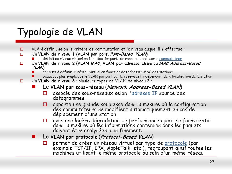 Typologie de VLAN Le VLAN par sous-réseau (Network Address-Based VLAN)