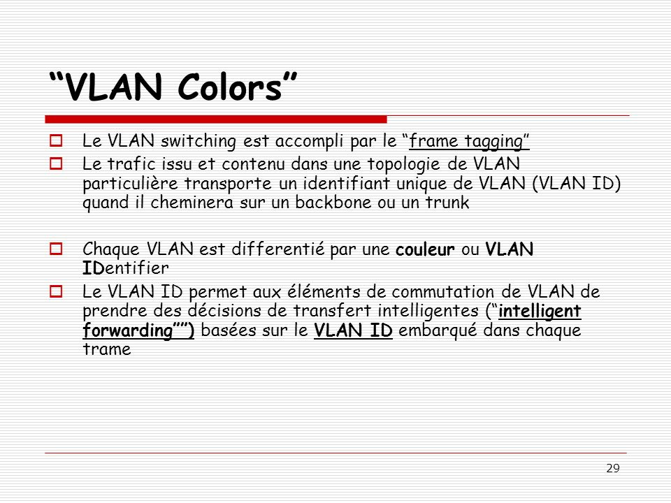 VLAN Colors Le VLAN switching est accompli par le frame tagging