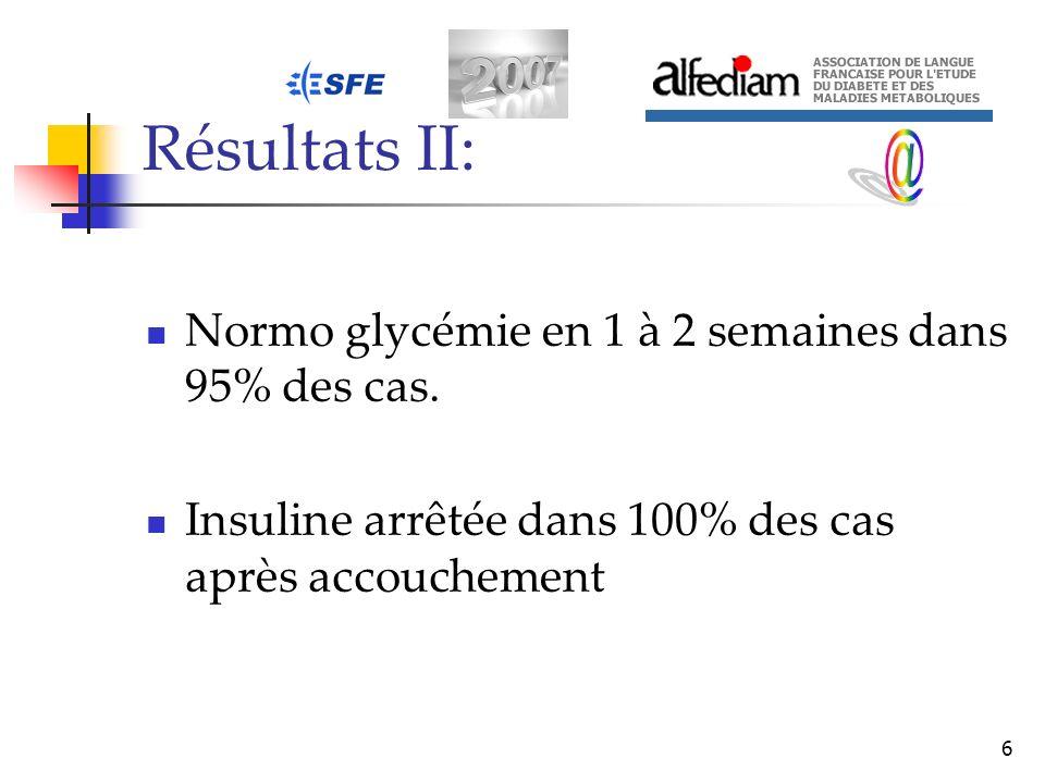 Résultats II: @ Normo glycémie en 1 à 2 semaines dans 95% des cas.