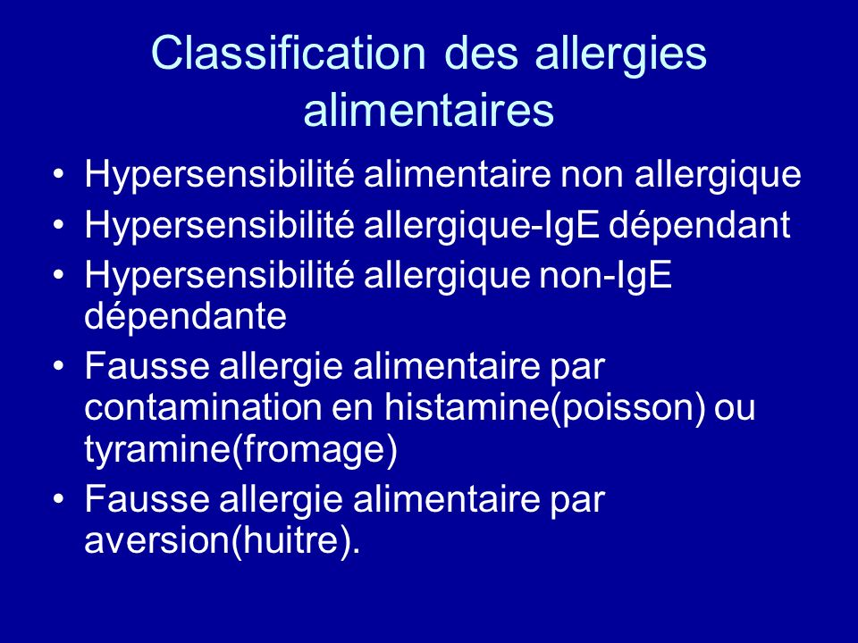 Classification des allergies alimentaires