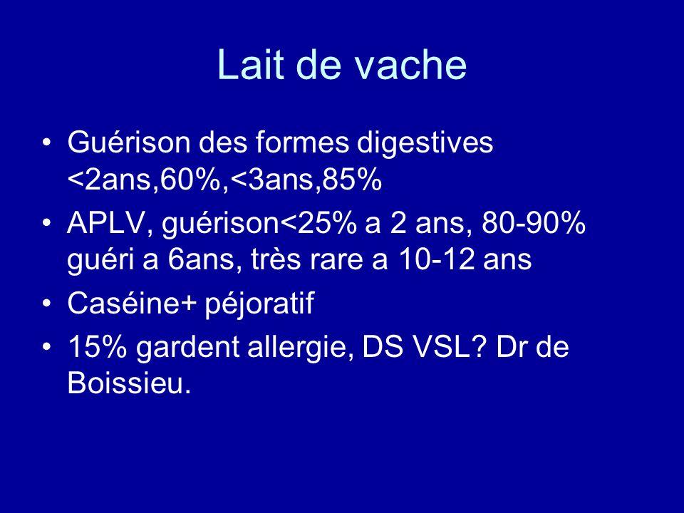Lait de vache Guérison des formes digestives <2ans,60%,<3ans,85%