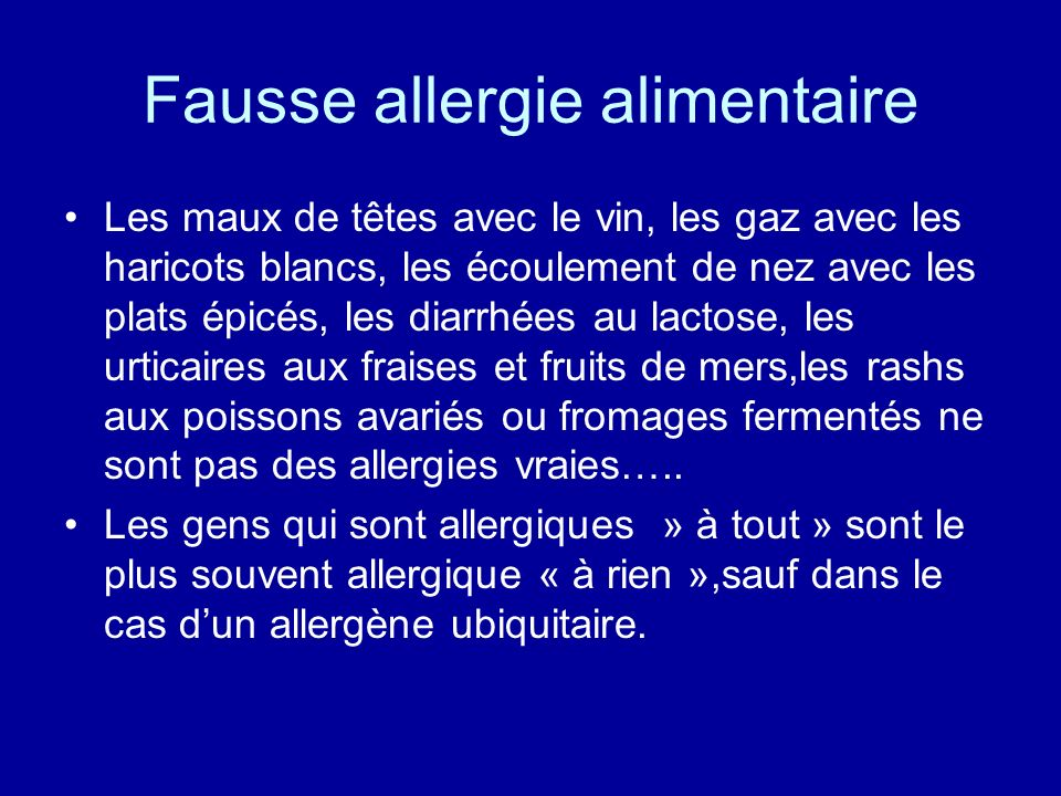 Fausse allergie alimentaire