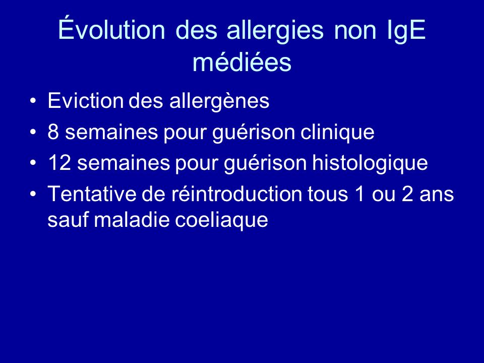 Évolution des allergies non IgE médiées