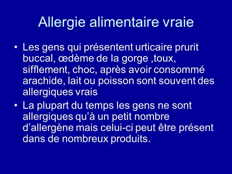 Allergie alimentaire vraie