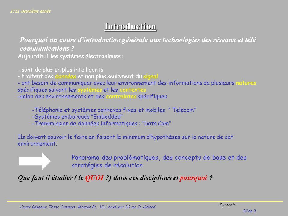 Introduction Pourquoi un cours d'introduction générale aux technologies des réseaux et télé communications
