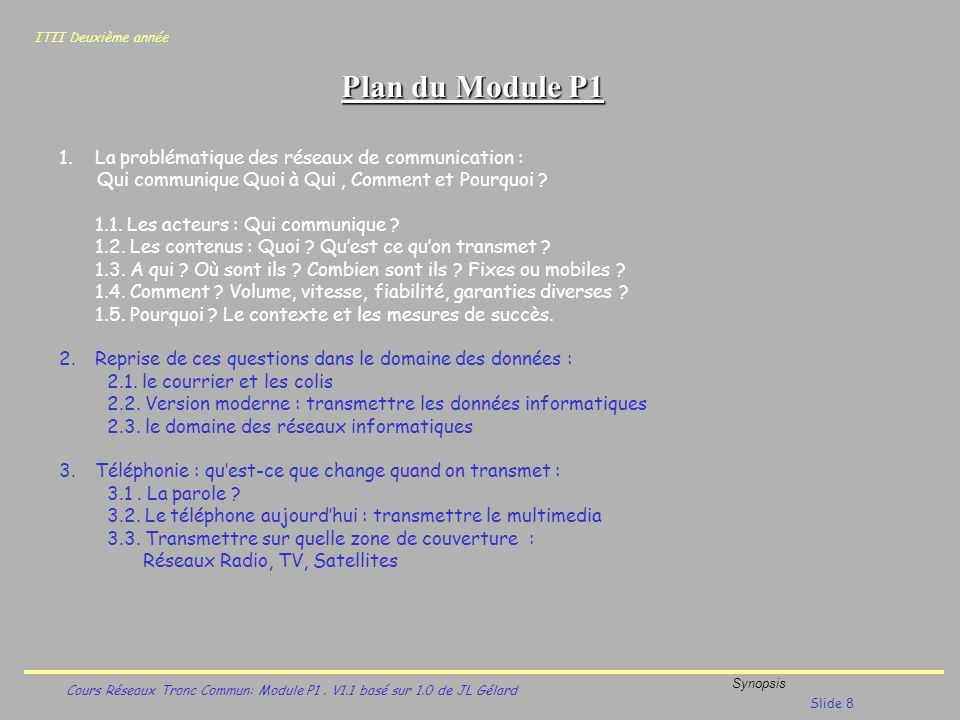 Plan du Module P1 La problématique des réseaux de communication :