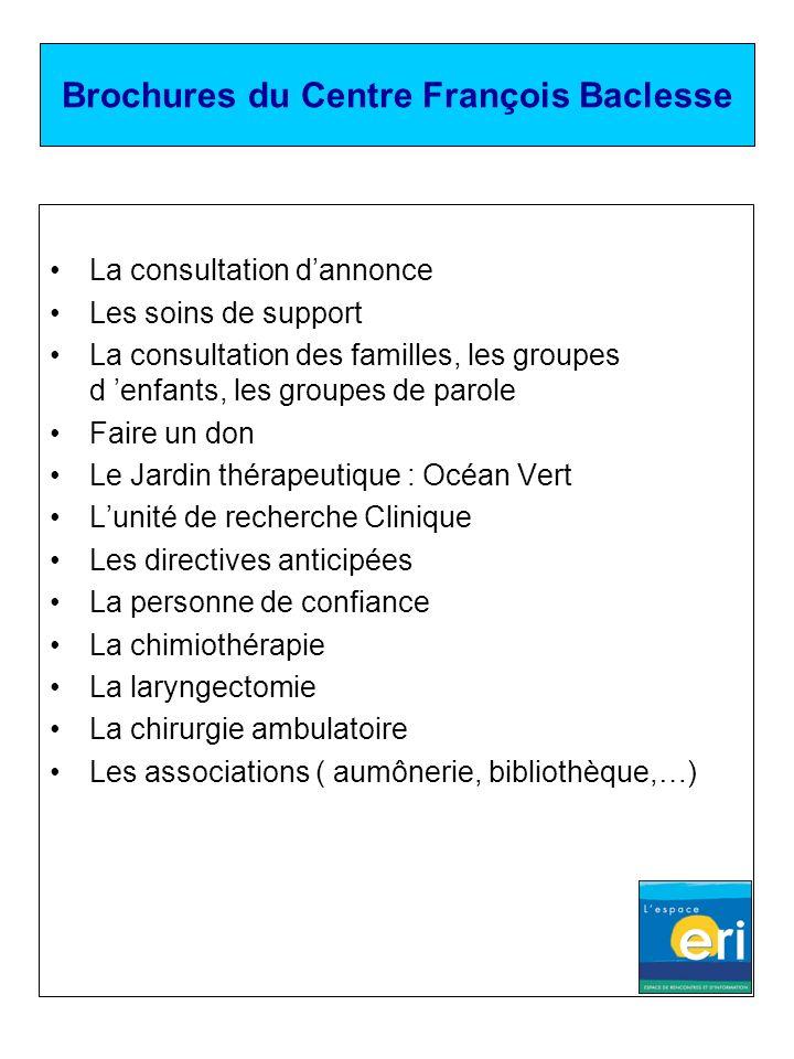 Brochures du Centre François Baclesse