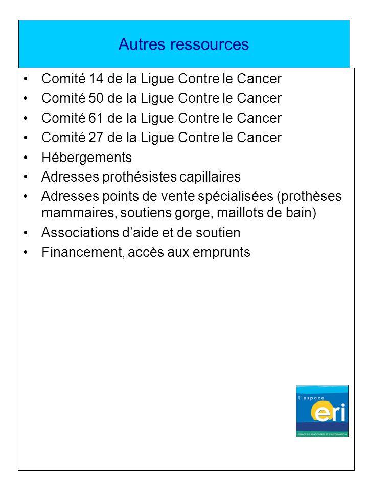 Autres ressources Comité 14 de la Ligue Contre le Cancer