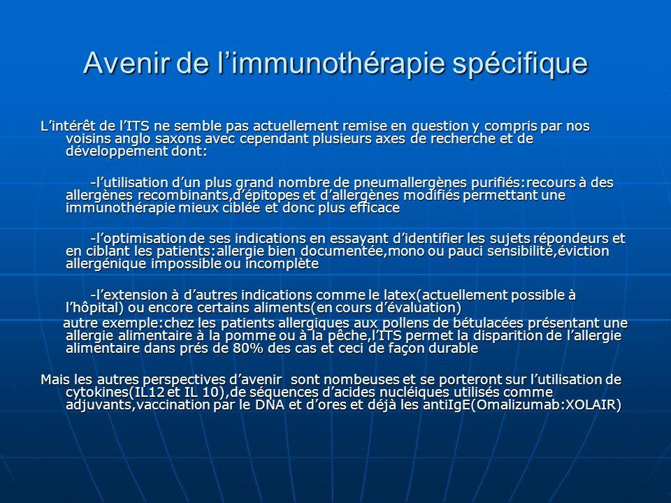 Avenir de l'immunothérapie spécifique