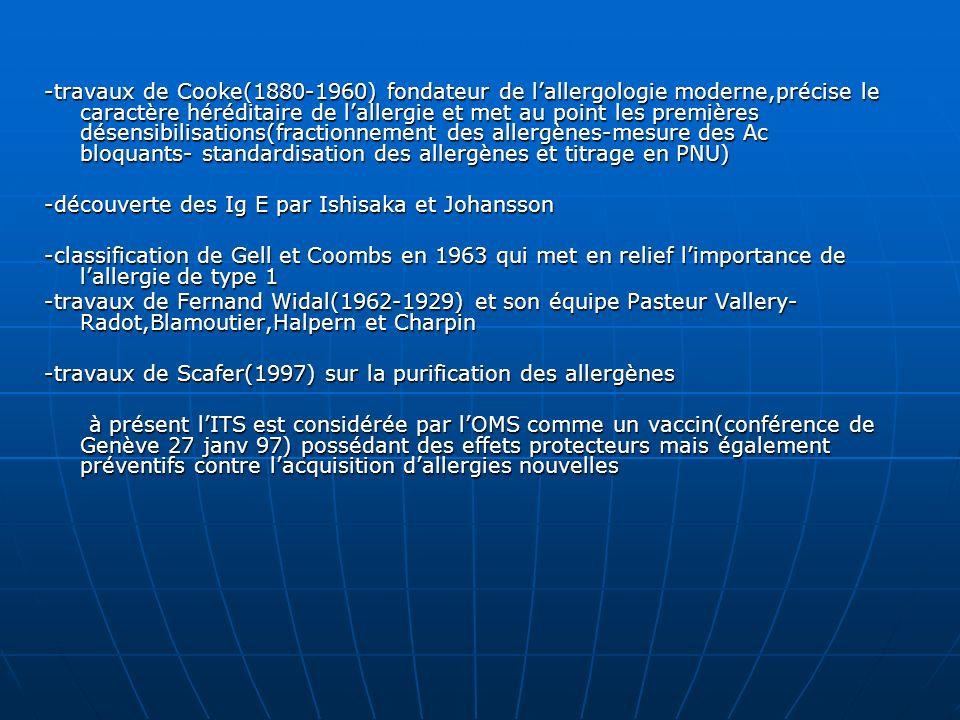 -travaux de Cooke(1880-1960) fondateur de l'allergologie moderne,précise le caractère héréditaire de l'allergie et met au point les premières désensibilisations(fractionnement des allergènes-mesure des Ac bloquants- standardisation des allergènes et titrage en PNU)