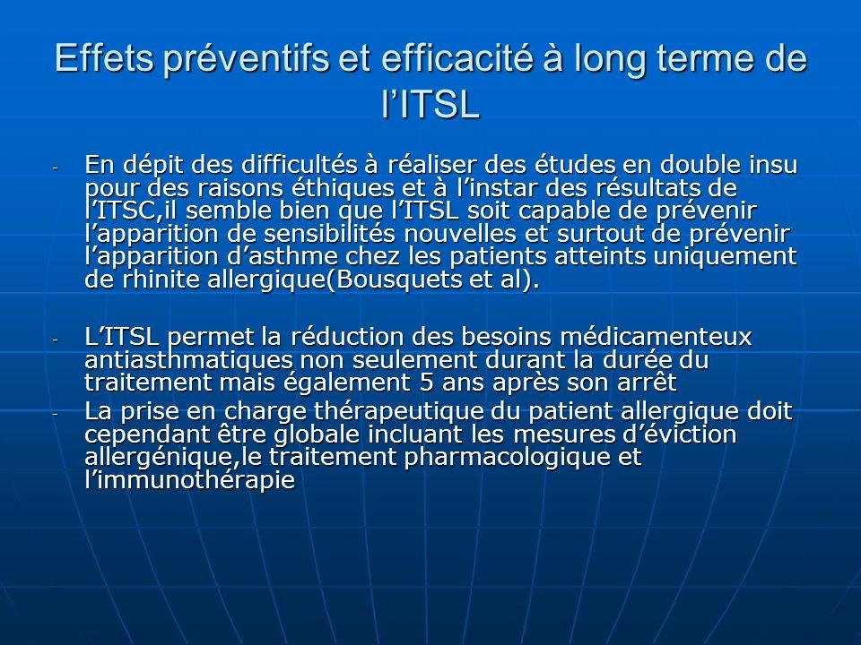 Effets préventifs et efficacité à long terme de l'ITSL