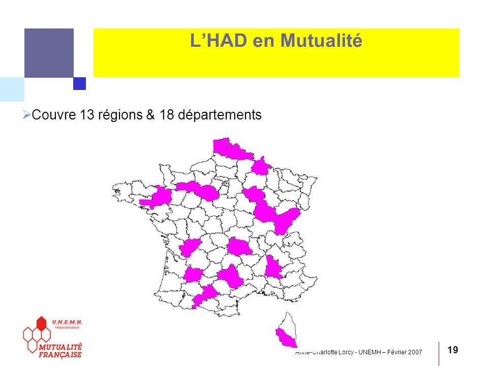 L'HAD en Mutualité Couvre 13 régions & 18 départements