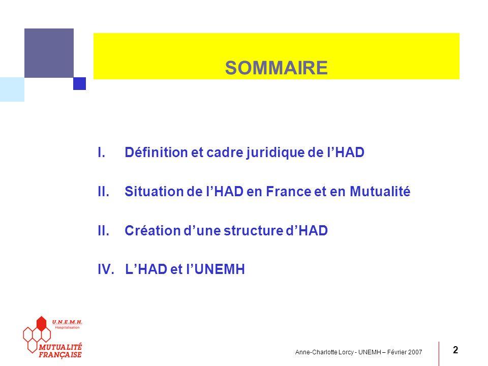 SOMMAIRE Définition et cadre juridique de l'HAD